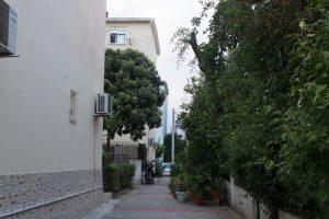 Εσωτερικός πεζόδρομος στη γειτονιά των νέων εργατικών πολυκατοικιών