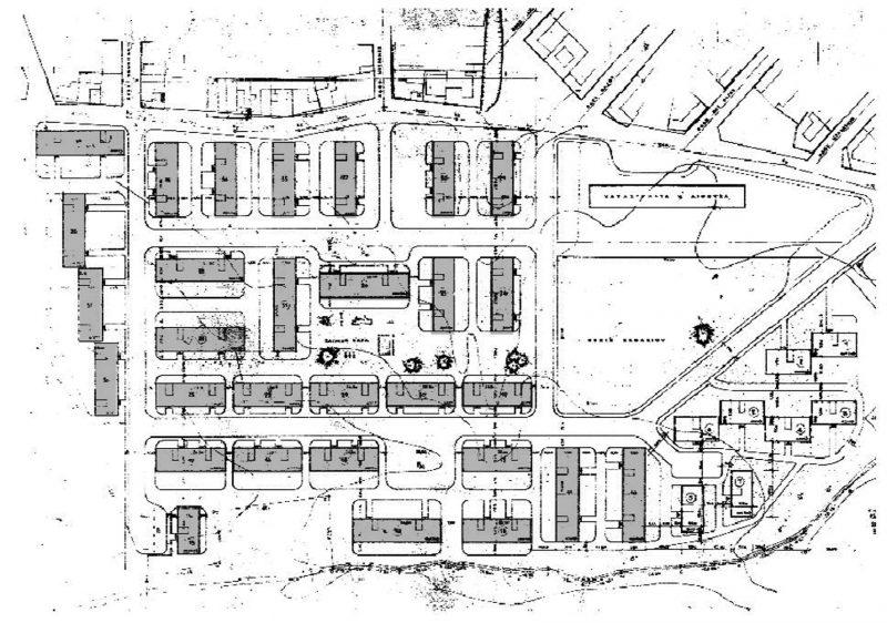 Το συγκρότημα των νέων πολυκατοικιών (σχέδιο γενικής διάταξης, Ο.Ε.Κ.)