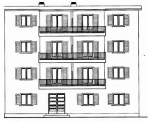 Όψη κτιριακής μονάδας των νέων εργατικών πολυκατοικιών (Διαμαντοπούλου Ο., Πασσάς Χ.,1981 )