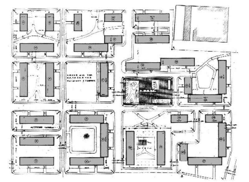 Το συγκρότημα των παλαιών πολυκατοικιών (σχέδιο γενικής διάταξης, Ο.Ε.Κ.)